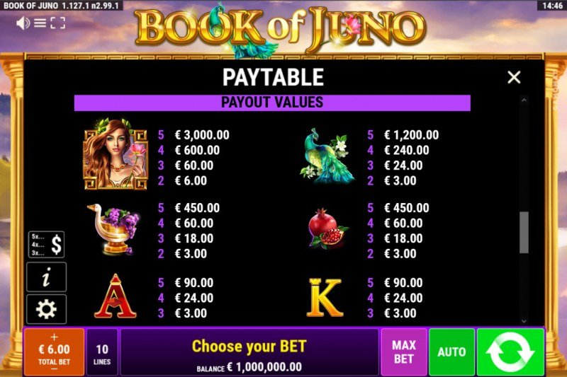 Book of Juno :: Paytable - High Value Symbols