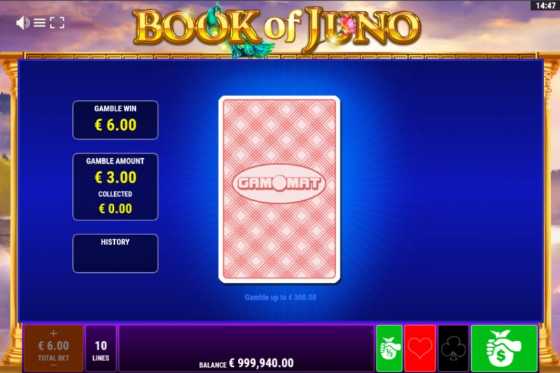 Book of Juno :: Red or Black Gamble Feature