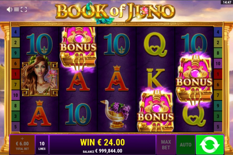 Book of Juno :: Scatter symbols triggers the free spins bonus feature