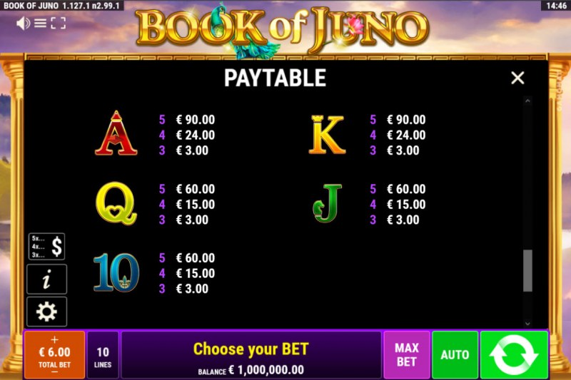 Book of Juno :: Paytable - Low Value Symbols