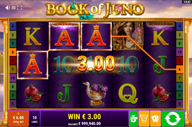 Book of Juno :: A three of a kind win