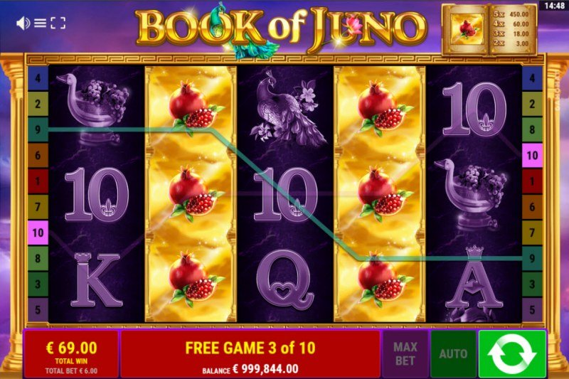 Book of Juno :: Multiple winning combinations