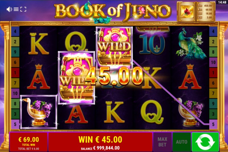 Book of Juno :: Free Spins Game Board