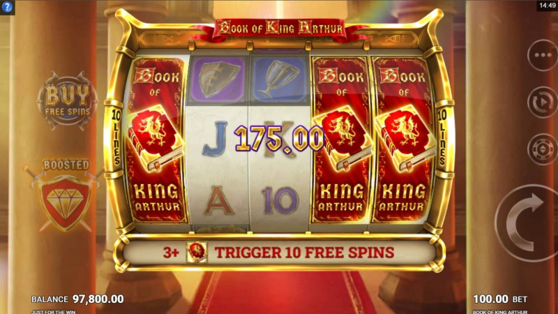 Book of King Arthur :: Scatter symbols triggers the free spins bonus feature
