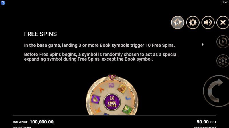 Book of King Arthur :: Free Spin Feature Rules