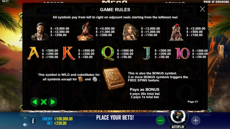 Book of Kingdoms :: Paytable