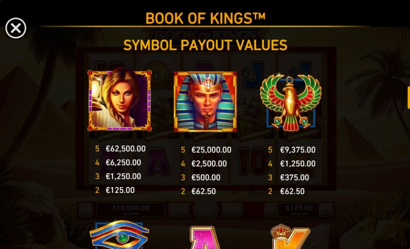 Book of Kings :: Paytable - High Value Symbols