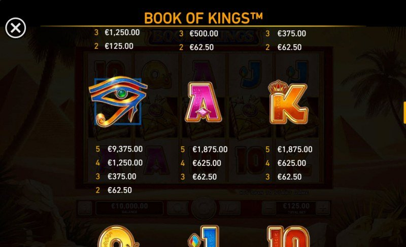 Book of Kings :: Paytable - Medium Value Symbols