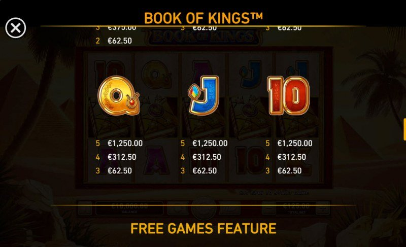 Book of Kings :: Paytable - Low Value Symbols