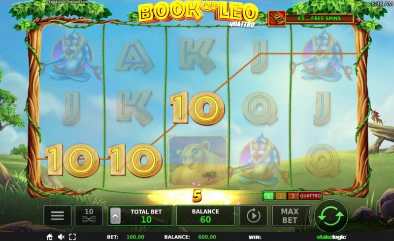 Book of Leo Quattro :: 3 of a kind win