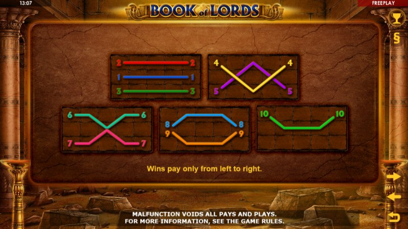 Book of Lords :: Paylines 1-10