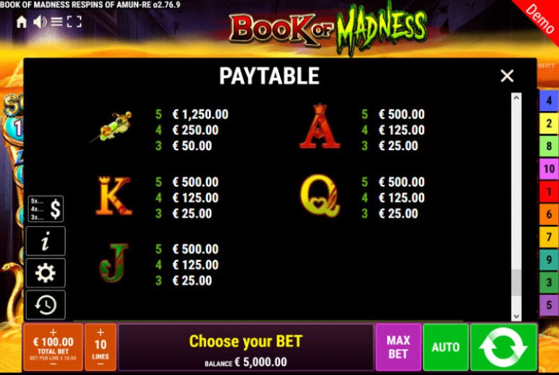 Book of Madness Roar Respins of Amun Re :: Paytable - Low Value Symbols