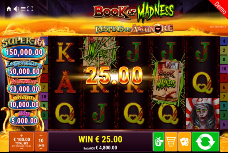 Book of Madness Roar Respins of Amun Re :: Three of a kind win