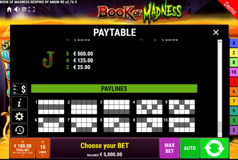 Book of Madness Roar Respins of Amun Re :: Paylines 1-10