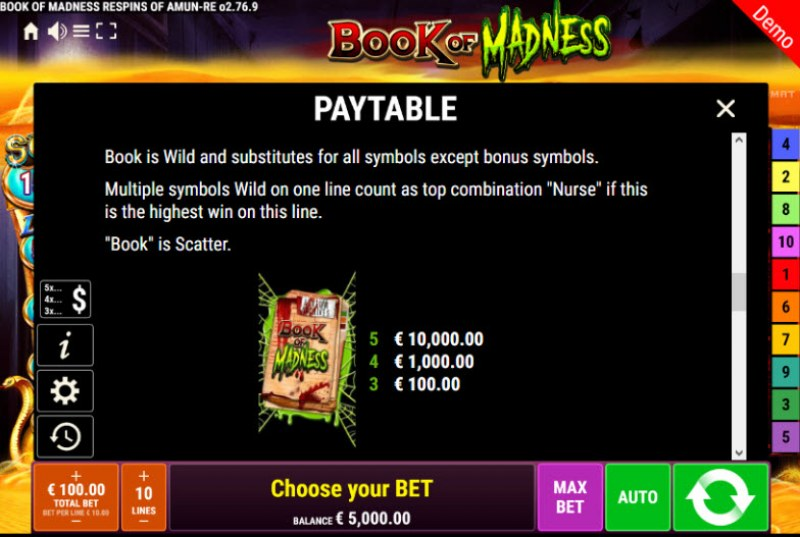 Book of Madness Roar Respins of Amun Re :: Wild and Scatter Rules