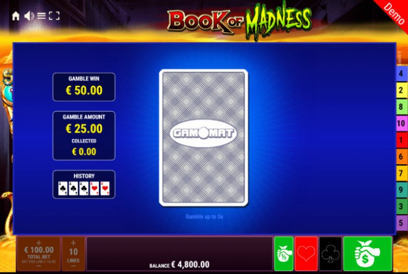 Book of Madness Roar Respins of Amun Re :: Red or Black Gamble Feature