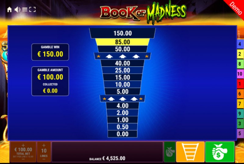 Book of Madness Roar Respins of Amun Re :: Ladder Gamble Feature