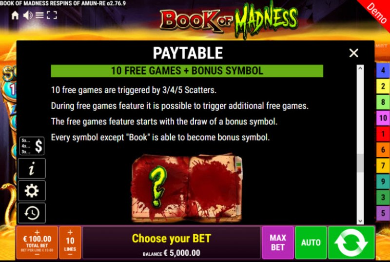 Book of Madness Roar Respins of Amun Re :: Free Spins Rules