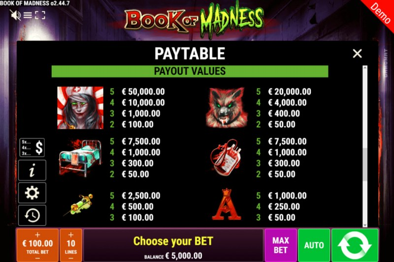 Book of Madness :: Paytable - High Value Symbols