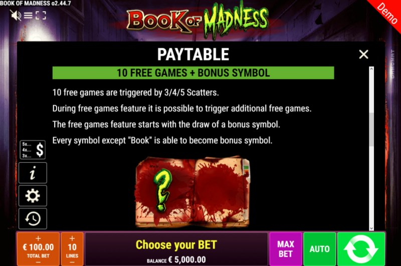 Book of Madness :: Free Spins Rules
