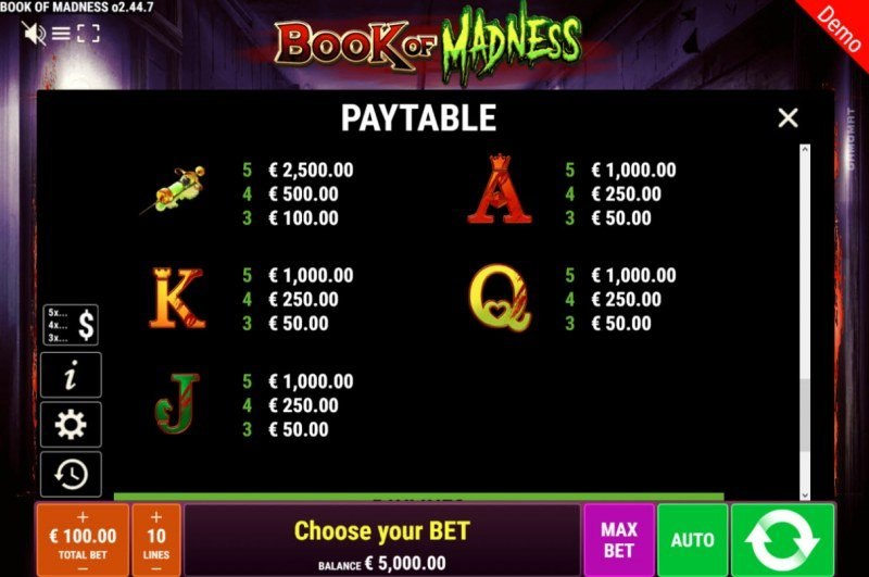 Book of Madness :: Paytable - Low Value Symbols
