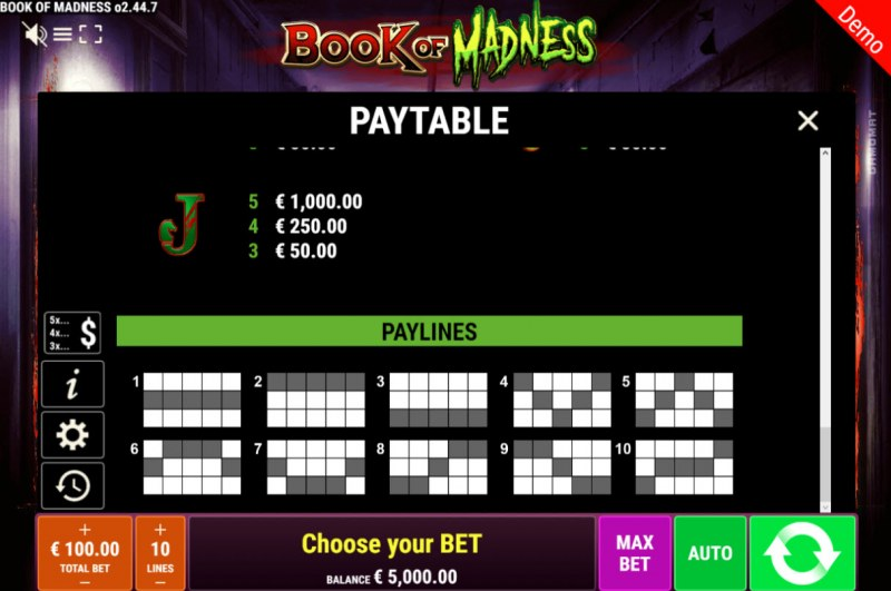 Book of Madness :: Paylines 1-10