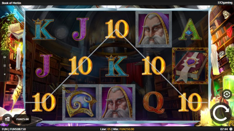 Book of Merlin :: A five of a kind win