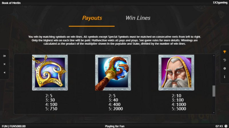 Book of Merlin :: Paytable - High Value Symbols