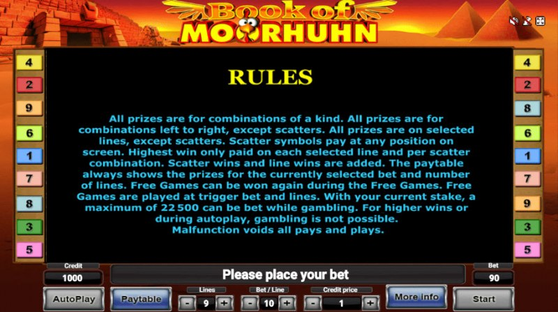 Book of Moorhuhn :: General Game Rules