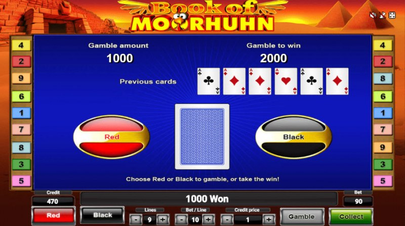 Book of Moorhuhn :: Black or Red Gamble Feature