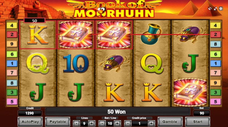 Book of Moorhuhn :: Scatter symbols triggers the free spins feature