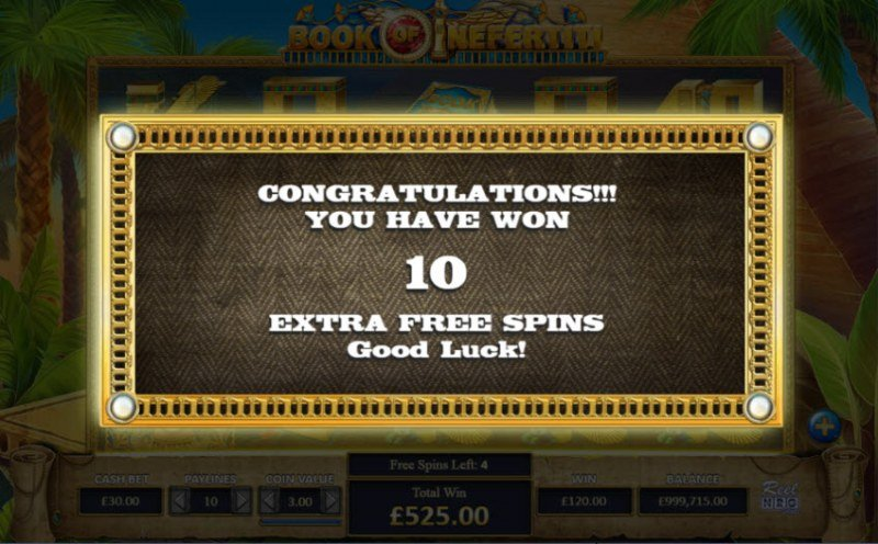 Book of Nefertiti :: 10 Extra free spins awarded