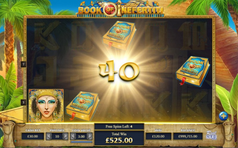 Book of Nefertiti :: Scatter symbols retrigger additional free spins