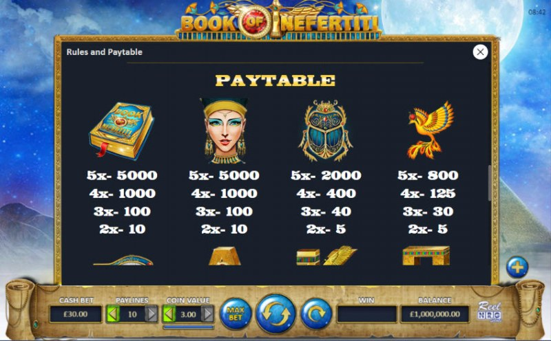 Book of Nefertiti :: Paytable - High Value Symbols