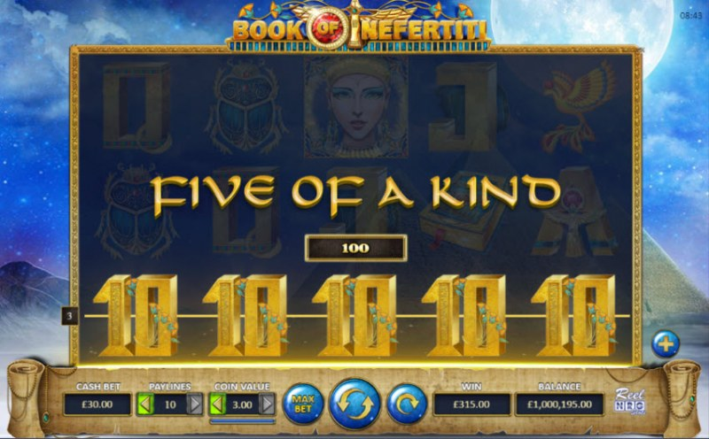 Book of Nefertiti :: A five of a kind win