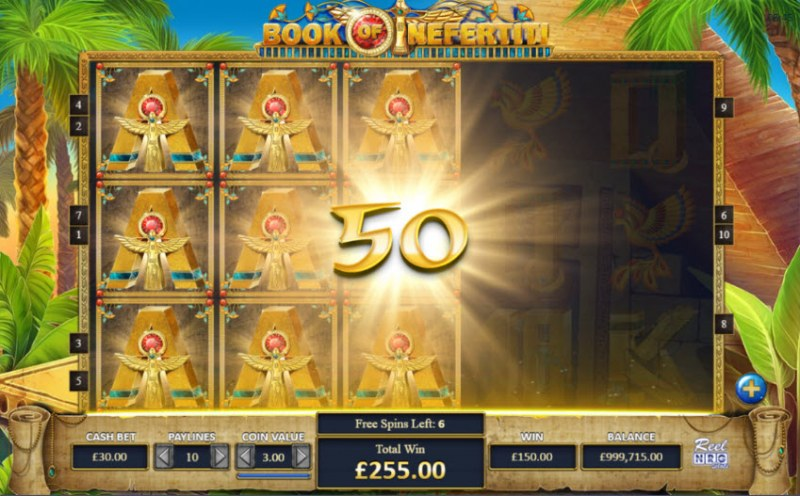 Book of Nefertiti :: special expanding symbol leads to a big win during the free spins feature