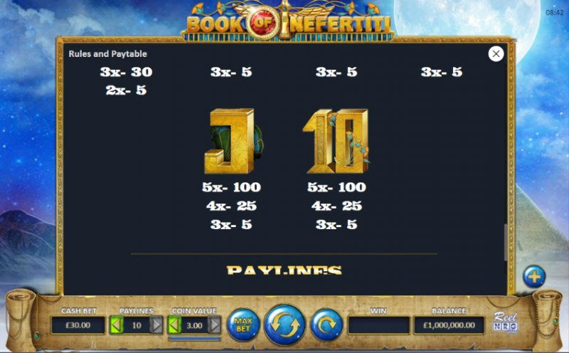 Book of Nefertiti :: Paytable - Low Value Symbols