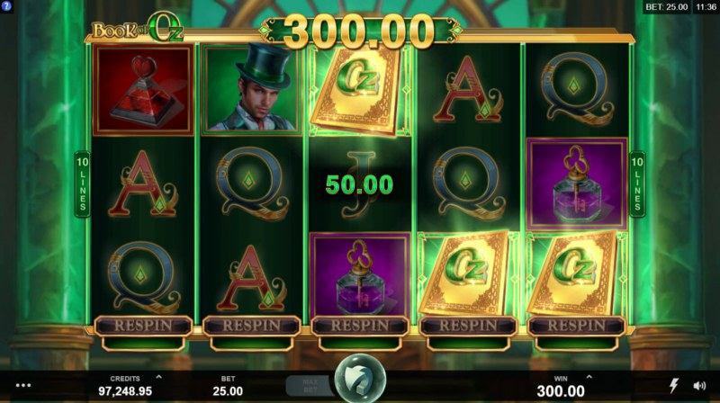 Book of Oz :: Scatter symbols triggers the free spins feature