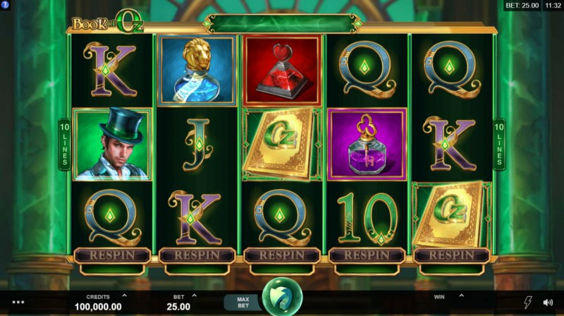 Play slots at GeoBet: GeoBet featuring the Video Slots Book of Oz with a maximum payout of $125,000
