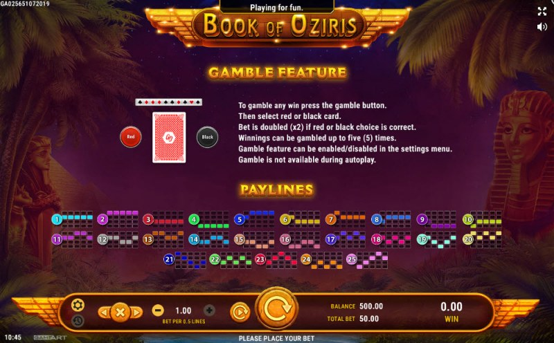 Book of Oziris :: Gamble Feature Rules