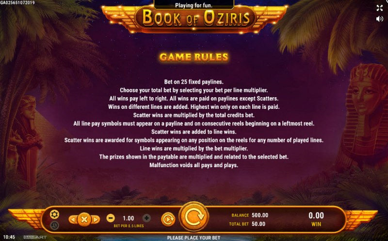 Book of Oziris :: General Game Rules