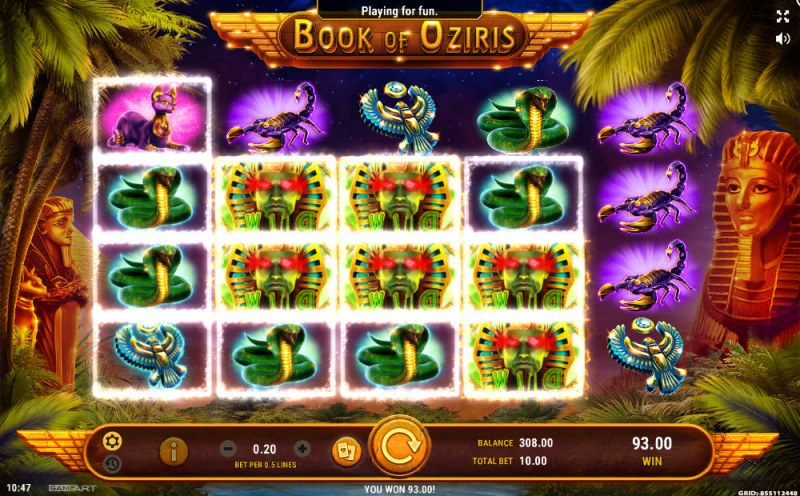 Book of Oziris :: Multiple winning combinations leads to a big win