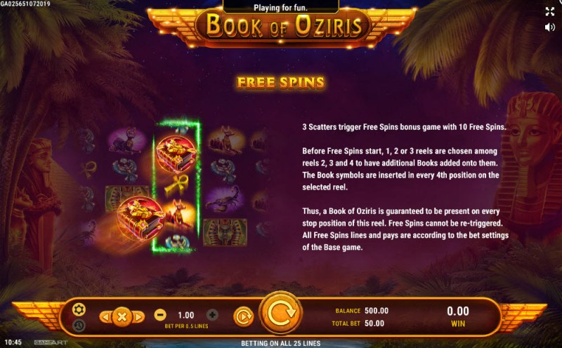 Book of Oziris :: Free Spins Rules