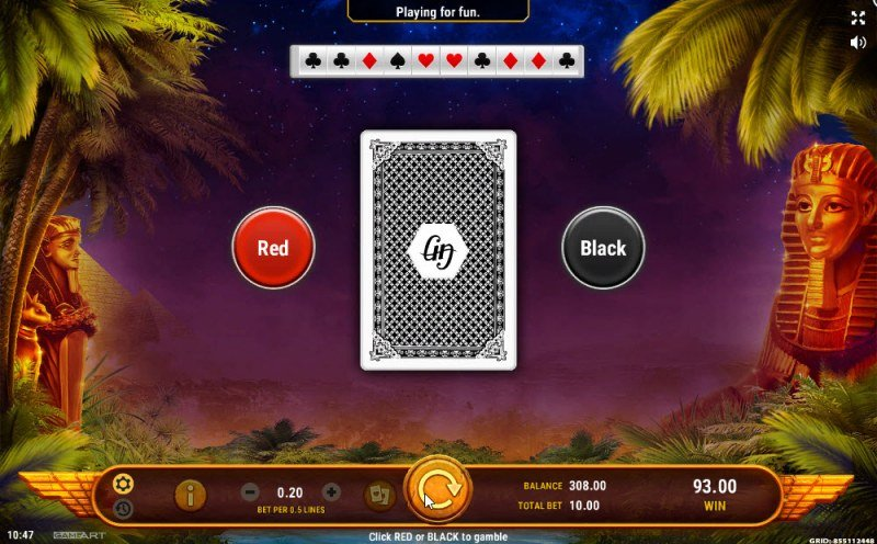 Book of Oziris :: Black or Red Gamble Feature