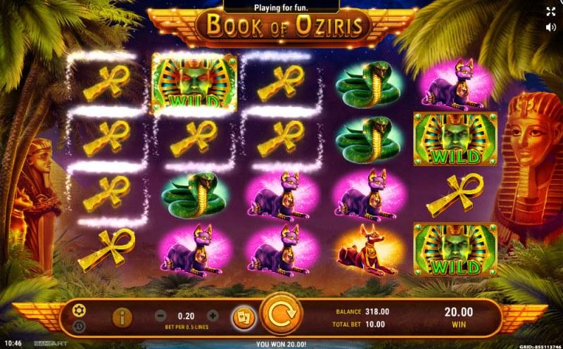 Book of Oziris :: Multiple winning paylines