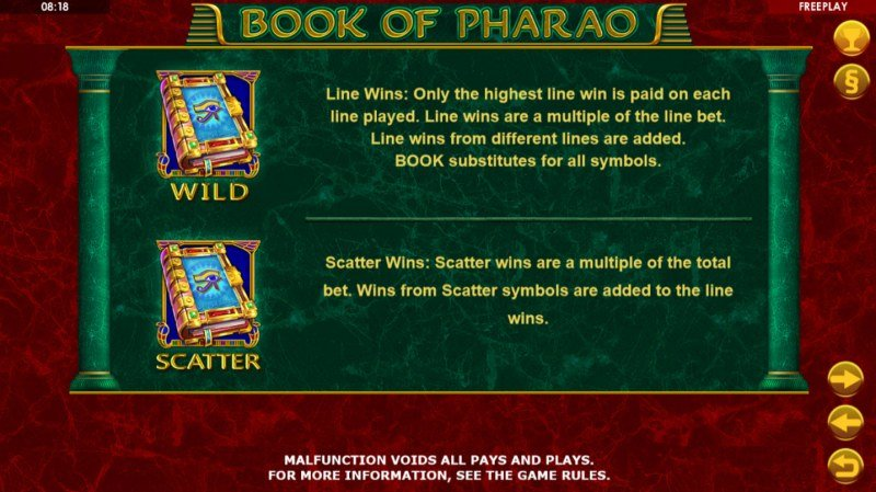 Book of Pharao :: Wild and Scatter Rules