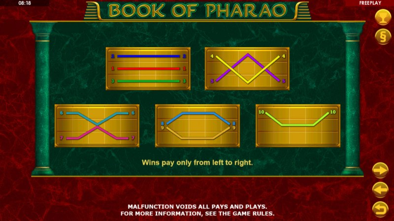 Book of Pharao :: Paylines 1-10