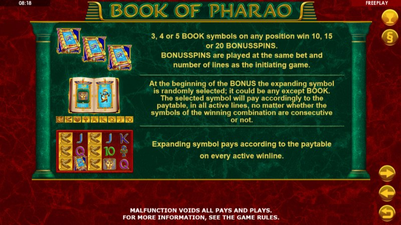 Book of Pharao :: Free Spins Rules
