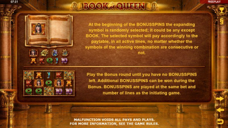 Book of Queen :: Free Spins Rules