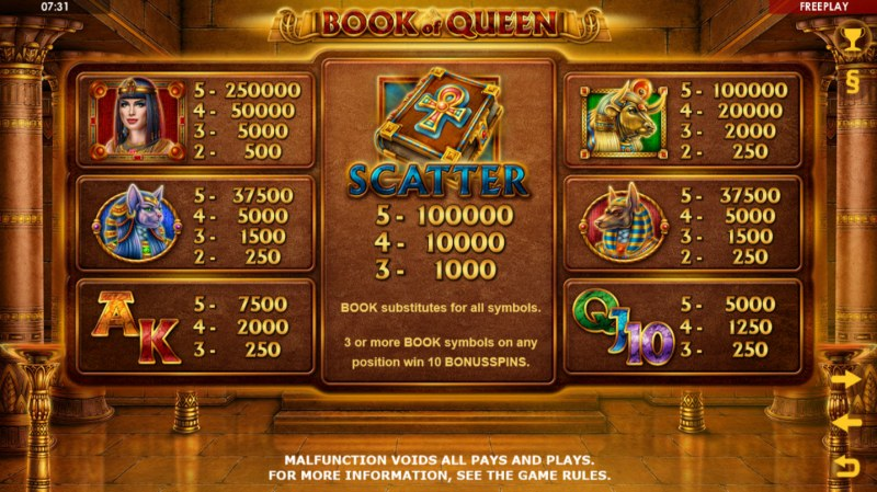 Book of Queen :: Paytable